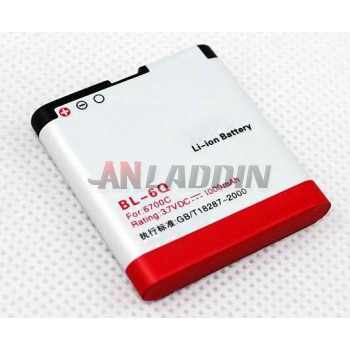 1000 mA mobile phone battery for Nokia 6700C BL-6Q battery