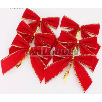 10cm 6pcs gold rim red Christmas bows