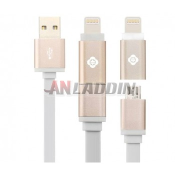 120cm 2 in 1 data charging cable for iphone 5s / 6 / Android phones
