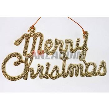 19 * 9cm golden Merry Christmas letters pendant