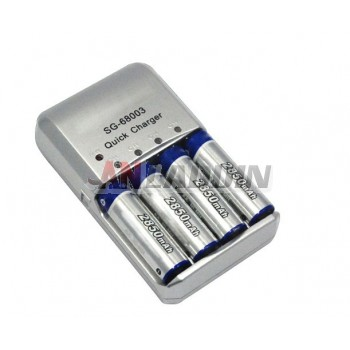 2850 mA AA Rechargeable battery kits / Quick Charger