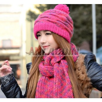 2pcs Winter women's knit scarf + knit hat