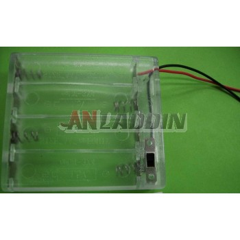 4pcs AA transparent Battery Case with cover and switch 6V