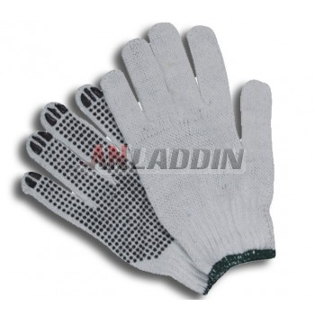 60G cotton yarns plastic gloves