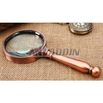 8cm 10X retro copper handheld magnifier