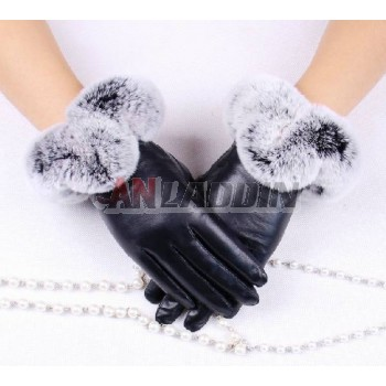 Beaver rabbit wool sheepskin gloves