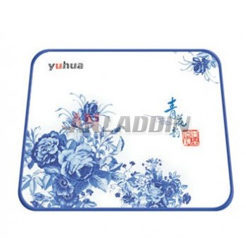 Blue and white mouse pad