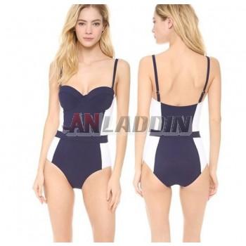 Blue + white sexy one-piece swimwear