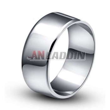 Classic sterling silver platinum plated men's ring