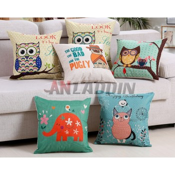 Cotton and linen cartoons throw pillow