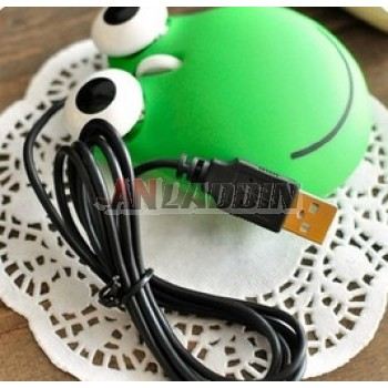 Cute cartoon frog type Wired optical mouse