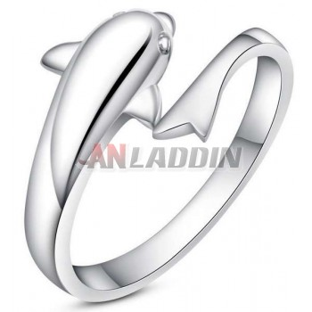 Dolphins love sterling silver women's ring