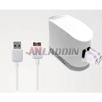 Dual USB Charger + Charging Cable for Samsung Note3