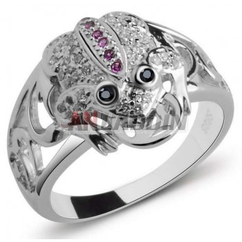 Fashion sterling silver Lucky frog ring