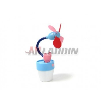 Flowerpot shape USB fan / mini USB or battery small fan with night light