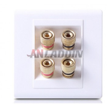 Four Column Audio Lines Plug Wall Plate White