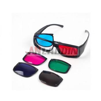 HD 3d glasses / three sets of lenses