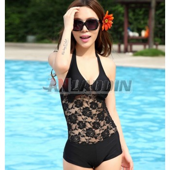 Hollow black woman one-piece swimsuit