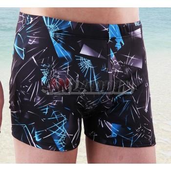 Men's blue printing swimming trunks