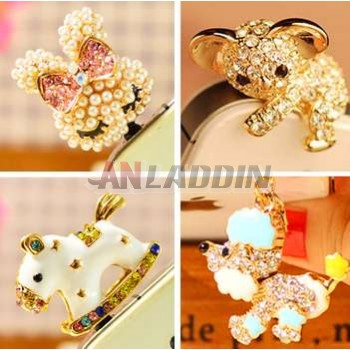 Mobile Rhinestone dust plug for 3.5MM headphone jack