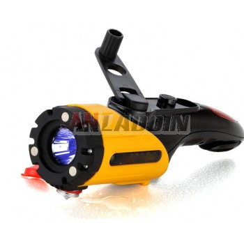 Multi-function hand-charged flashlight
