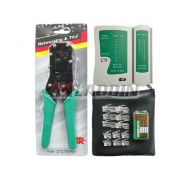 Network cable pliers + tester + battery +60 crystal head / network crimping tool kit