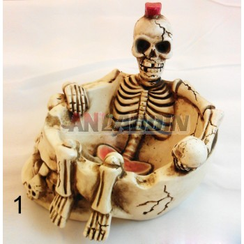 Resin retro skeleton ashtray