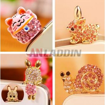 Rhinestone Mobile jewelry for 3.5MM headphone jack