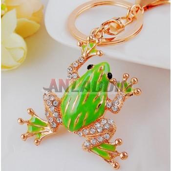Rhinestones frog keychain