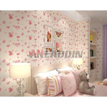 romantic pink heart PVC wall stickers