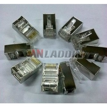 Shielded RJ45 CAT5e UTP network crystal head / nickel plated copper