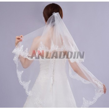 short style white lace bridal veil