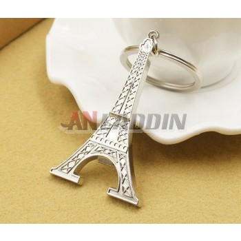 Silver iron tower keychain