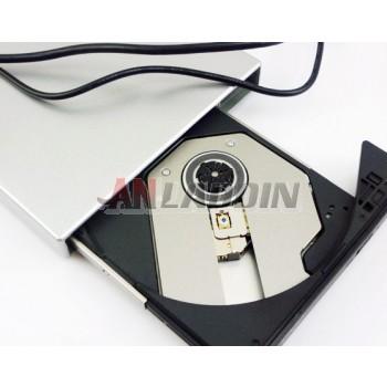 Silver Mobile external drive CD burner DVD drive USB drive