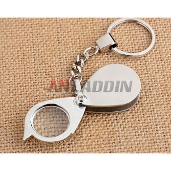 Stainless steel Mini Keychain magnifier