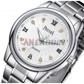 Stainless steel waterproof quartz couple watch