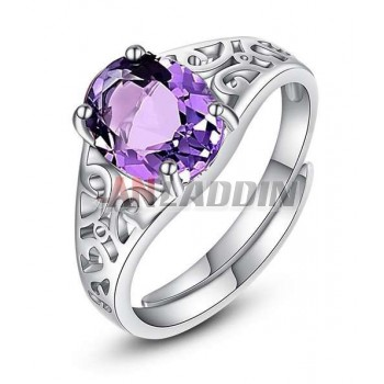Sterling silver natural purple crystal woman engagement ring