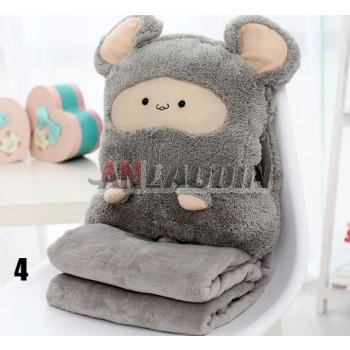 Three purposes cartoon pillow + hands warm + blankets