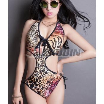 Tiger patterns sexy one-piece swimwear