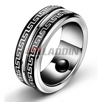 Titanium silver fashion knight men's ring