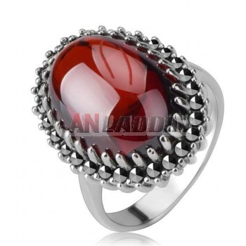 Titanium silver natural red agate classic vampire's ring