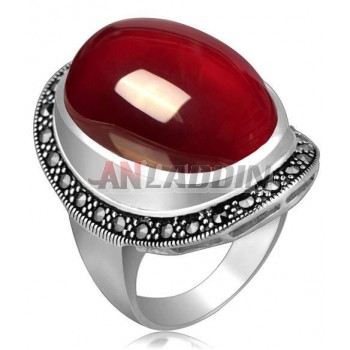 Titanium silver natural red agate high-end vampire's ring