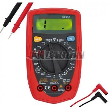 UT33D digital multimeter with backlight anti-burn
