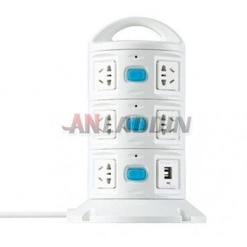 Vertical socket with switch + USB 2.1A