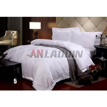 White printed cotton satin 4pcs bedding sheet set for hotel