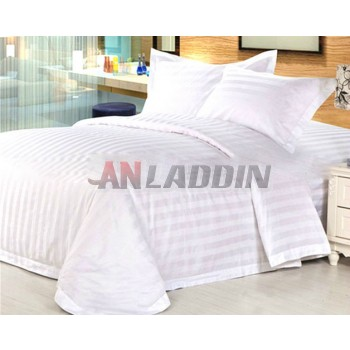 White striped cotton satin 4pcs bedding sheet set for hotel