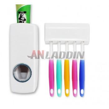 White toothpaste dispenser + dustproof toothbrush holder