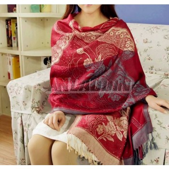 Winter & autumn woolen yarn Romantic jacquard tassel long scarf