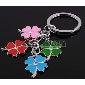 Zinc alloy four leaf clover keychain