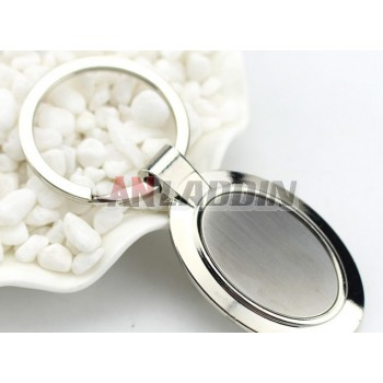 Zinc alloy minimalist style oval keychain